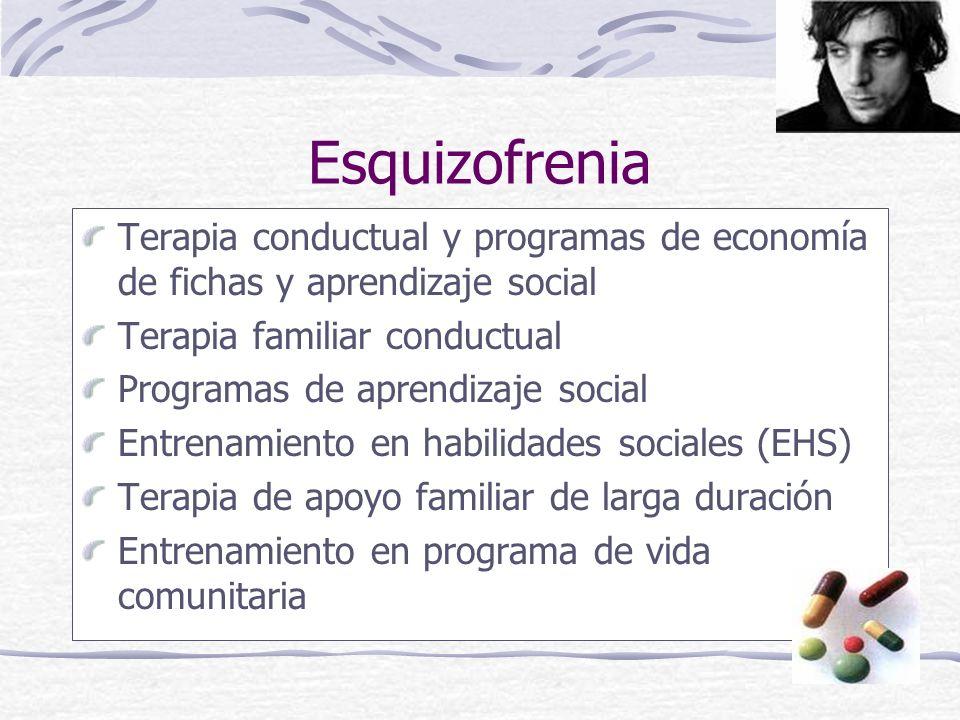 Esquizofrenia Terapia conductual y programas de economía de fichas y aprendizaje social. Terapia familiar conductual.