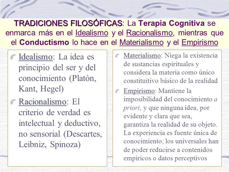 TRADICIONES FILOSÓFICAS: La Terapia Cognitiva se enmarca más en el Idealismo y el Racionalismo, mientras que el Conductismo lo hace en el Materialismo y el Empirismo