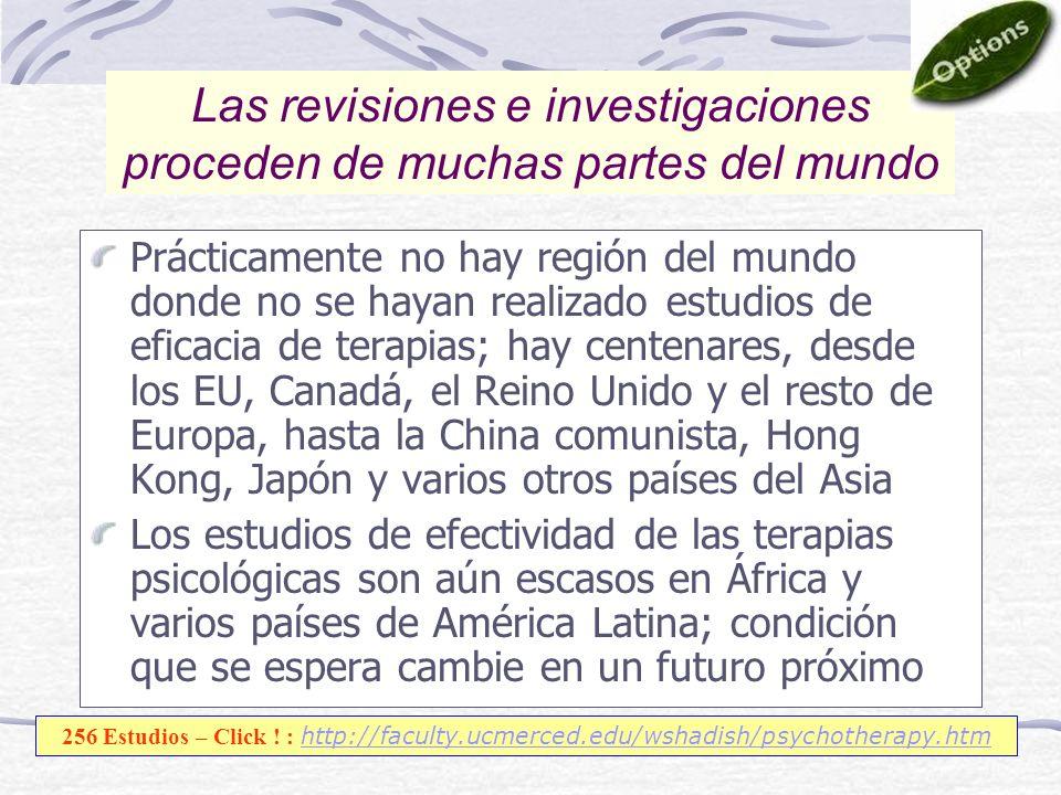 Las revisiones e investigaciones proceden de muchas partes del mundo