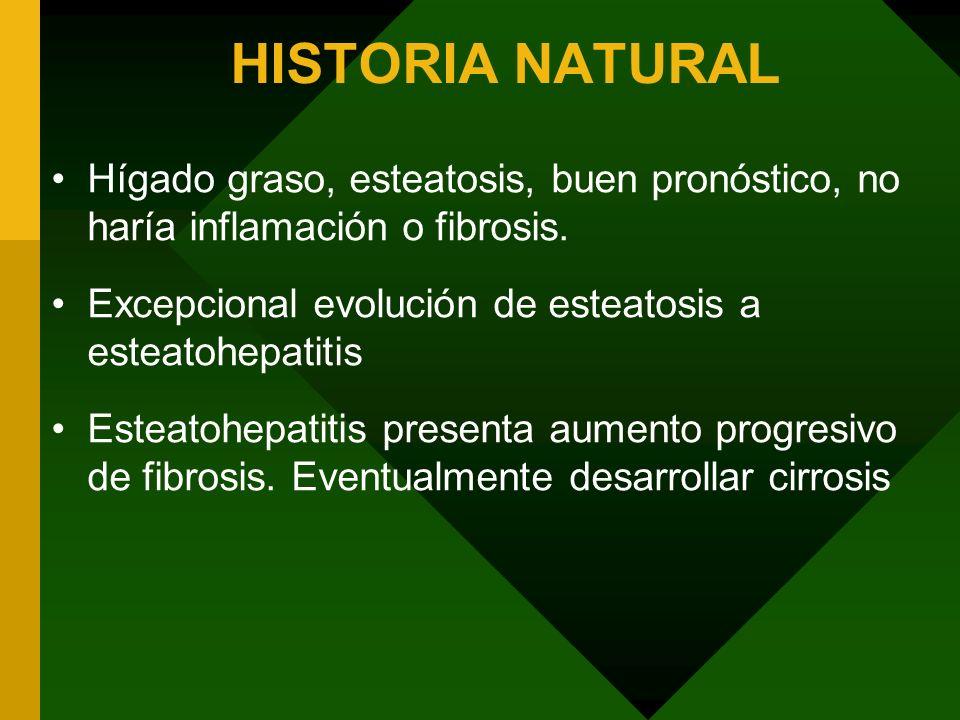 HISTORIA NATURALHígado graso, esteatosis, buen pronóstico, no haría inflamación o fibrosis. Excepcional evolución de esteatosis a esteatohepatitis.