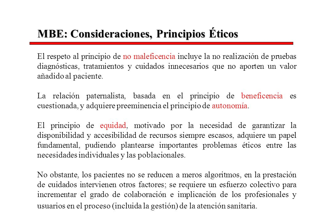 MBE: Consideraciones, Principios Éticos