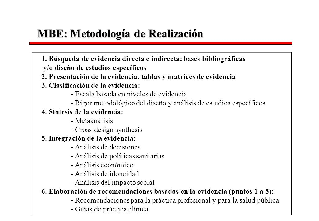 MBE: Metodología de Realización