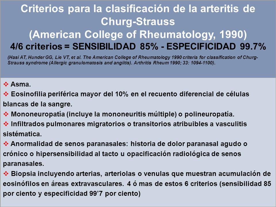 4/6 criterios = SENSIBILIDAD 85% - ESPECIFICIDAD 99.7%