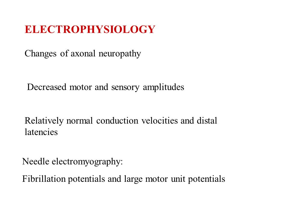 ELECTROPHYSIOLOGY Changes of axonal neuropathy