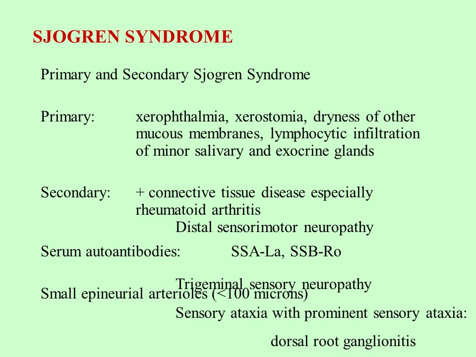 SJOGREN SYNDROME Primary and Secondary Sjogren Syndrome