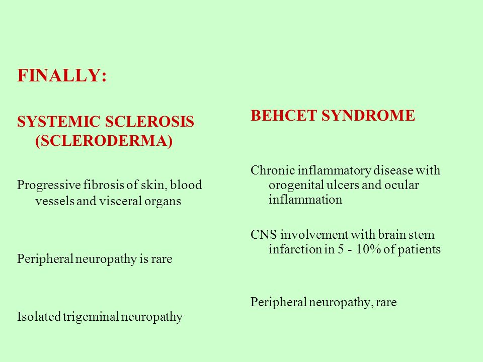 FINALLY: BEHCET SYNDROME SYSTEMIC SCLEROSIS (SCLERODERMA)