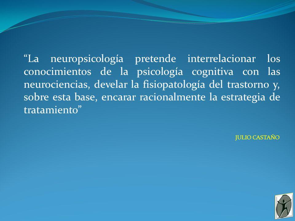 La neuropsicología pretende interrelacionar los conocimientos de la psicología cognitiva con las neurociencias, develar la fisiopatología del trastorno y, sobre esta base, encarar racionalmente la estrategia de tratamiento