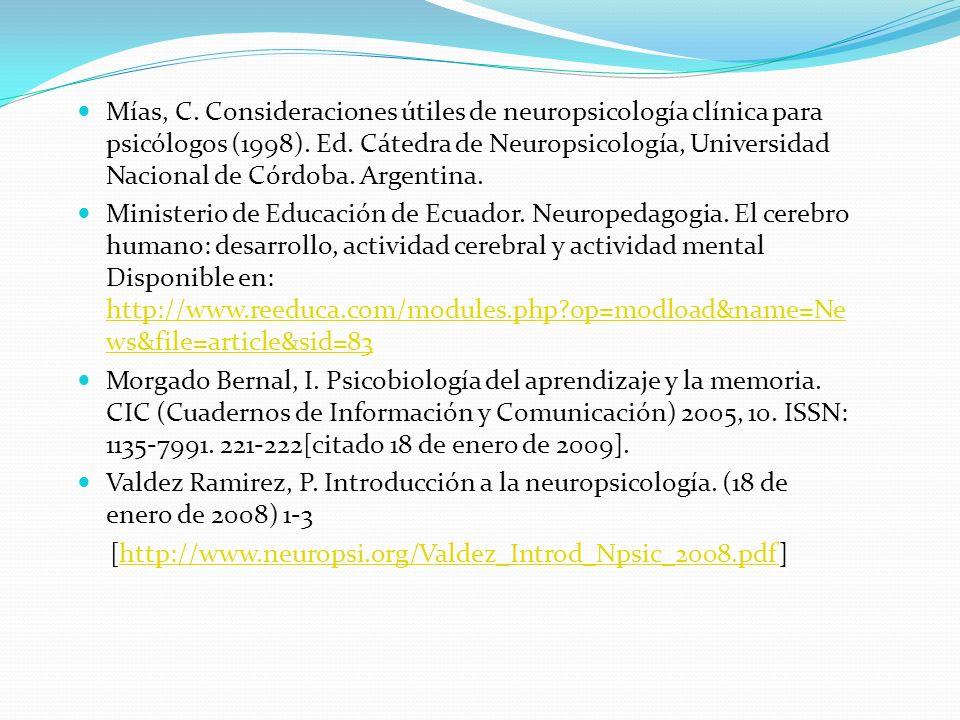 Mías, C. Consideraciones útiles de neuropsicología clínica para psicólogos (1998). Ed. Cátedra de Neuropsicología, Universidad Nacional de Córdoba. Argentina.