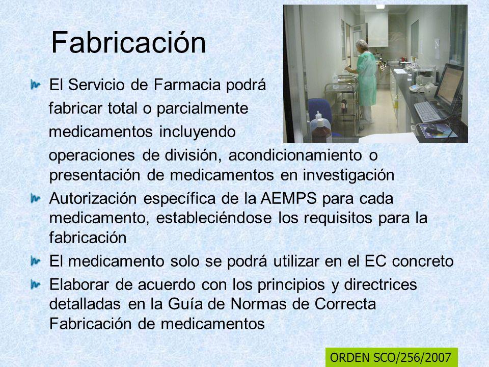 Fabricación El Servicio de Farmacia podrá