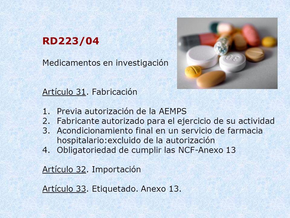 RD223/04 Medicamentos en investigación Artículo 31. Fabricación