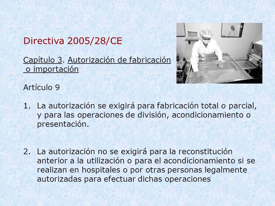 Directiva 2005/28/CE Capítulo 3. Autorización de fabricación