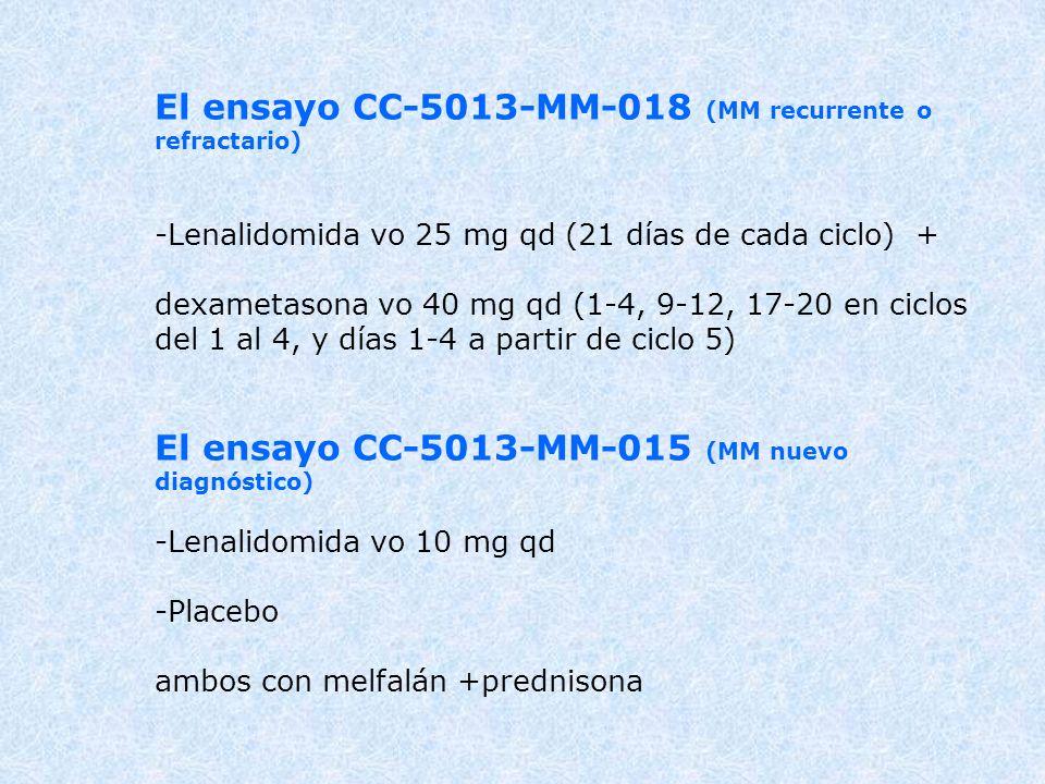 El ensayo CC-5013-MM-018 (MM recurrente o refractario)