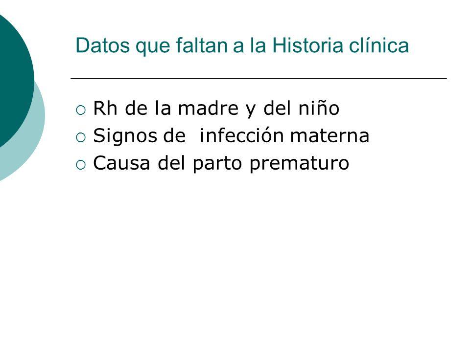 Datos que faltan a la Historia clínica