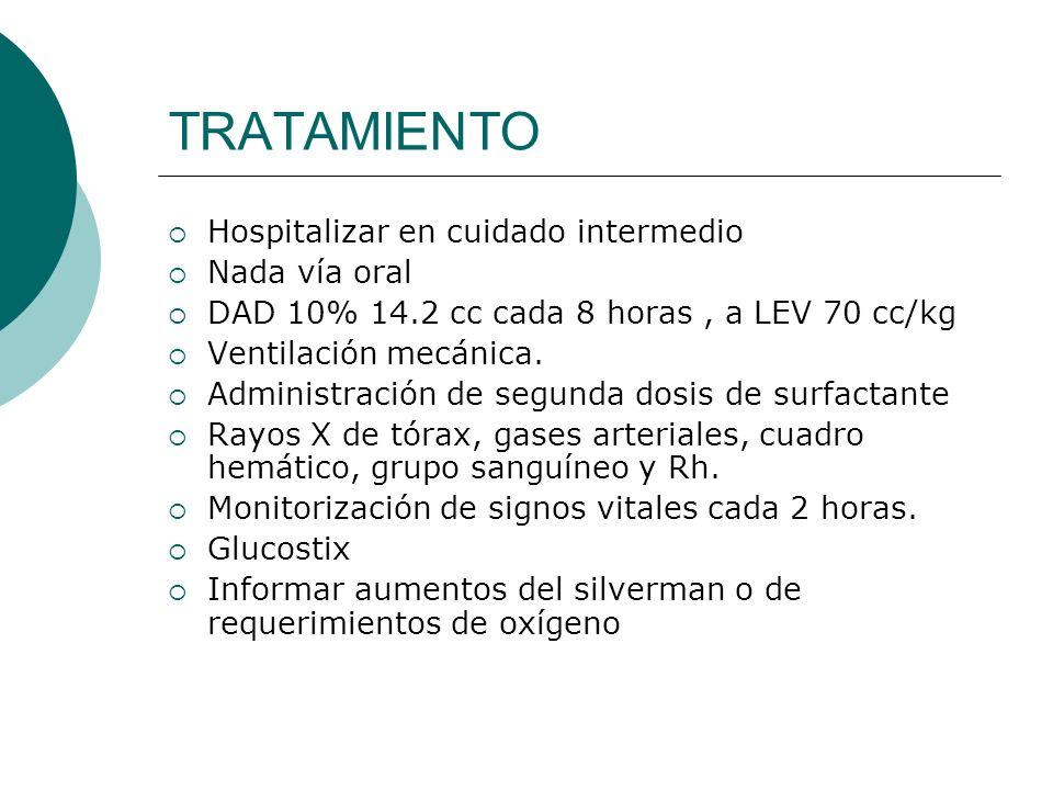 TRATAMIENTO Hospitalizar en cuidado intermedio Nada vía oral