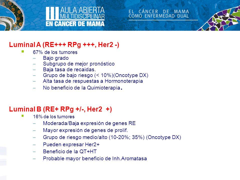Luminal A (RE+++ RPg +++, Her2 -)