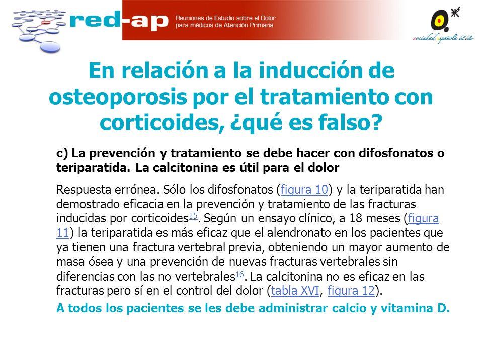 En relación a la inducción de osteoporosis por el tratamiento con corticoides, ¿qué es falso