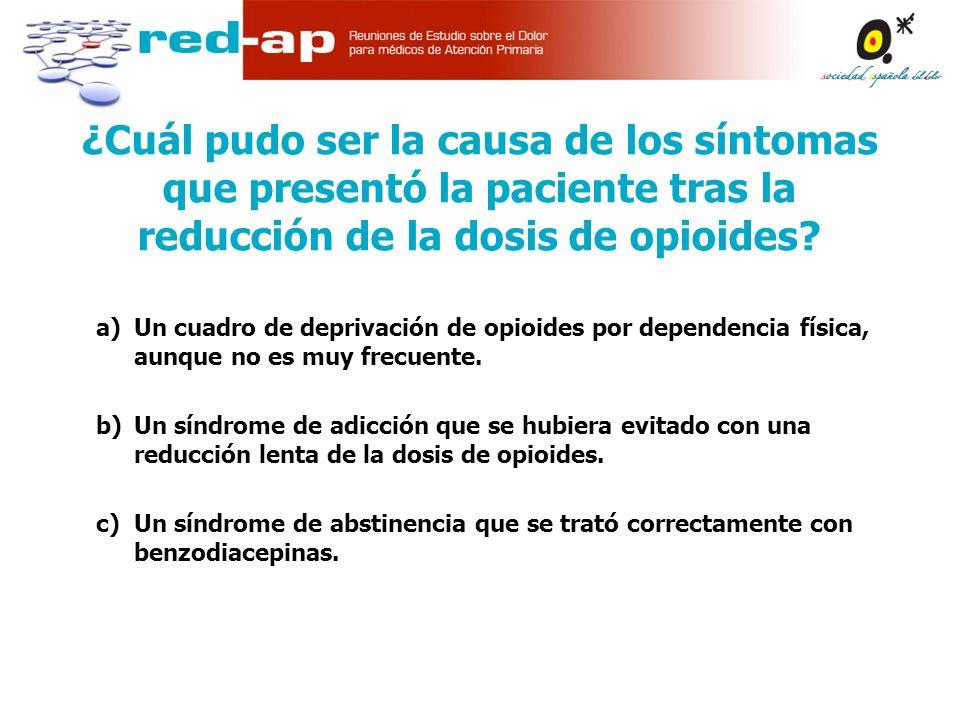 ¿Cuál pudo ser la causa de los síntomas que presentó la paciente tras la reducción de la dosis de opioides