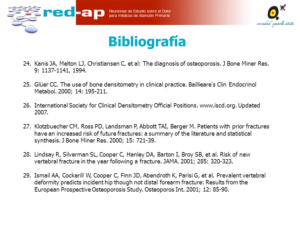 Bibliografía 24. Kanis JA, Melton LJ, Christiansen C, et al: The diagnosis of osteoporosis. J Bone Miner Res. 9: 1137-1141, 1994.