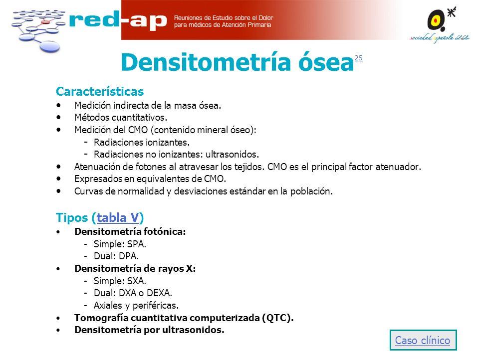 Densitometría ósea25 Características Tipos (tabla V) Caso clínico