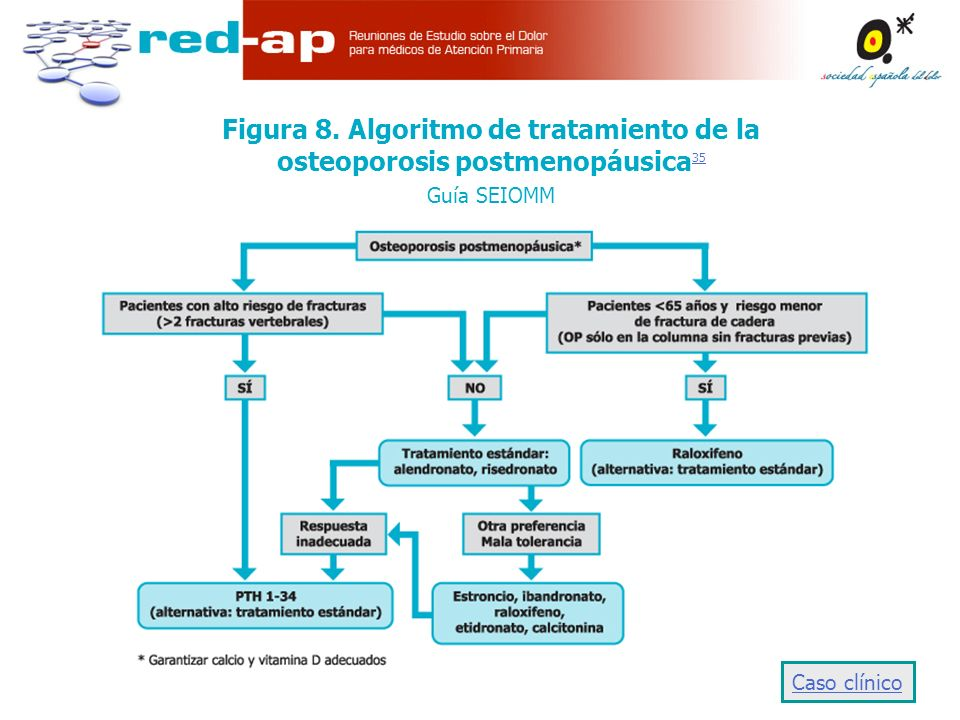 Figura 8. Algoritmo de tratamiento de la osteoporosis postmenopáusica35 Guía SEIOMM