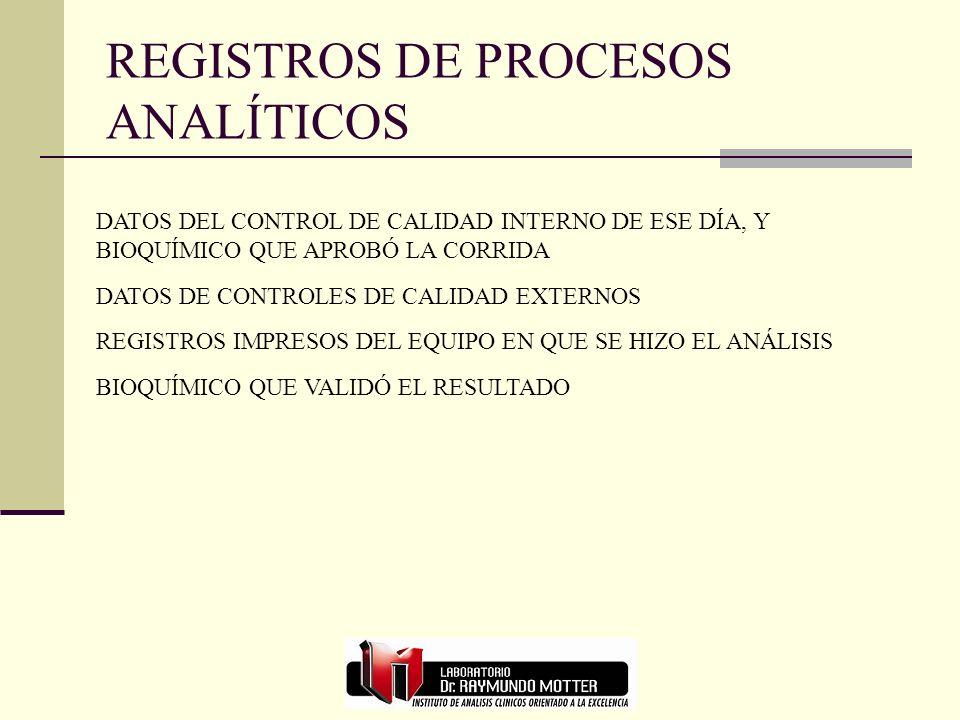 REGISTROS DE PROCESOS ANALÍTICOS