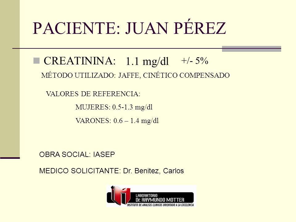 PACIENTE: JUAN PÉREZ CREATININA: 1.1 mg/dl +/- 5%