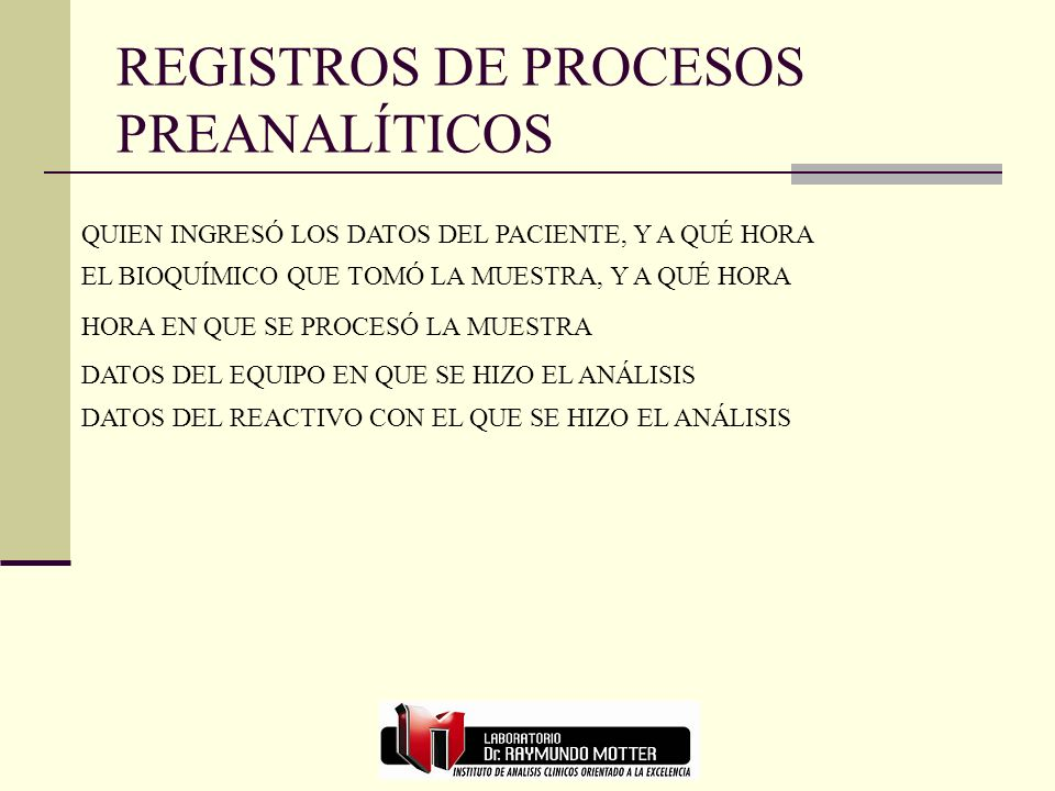 REGISTROS DE PROCESOS PREANALÍTICOS