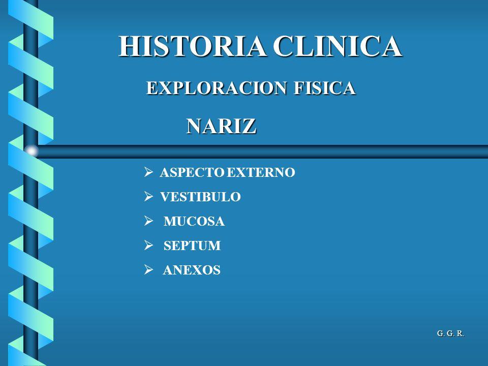 HISTORIA CLINICA EXPLORACION FISICA NARIZ ASPECTO EXTERNO VESTIBULO