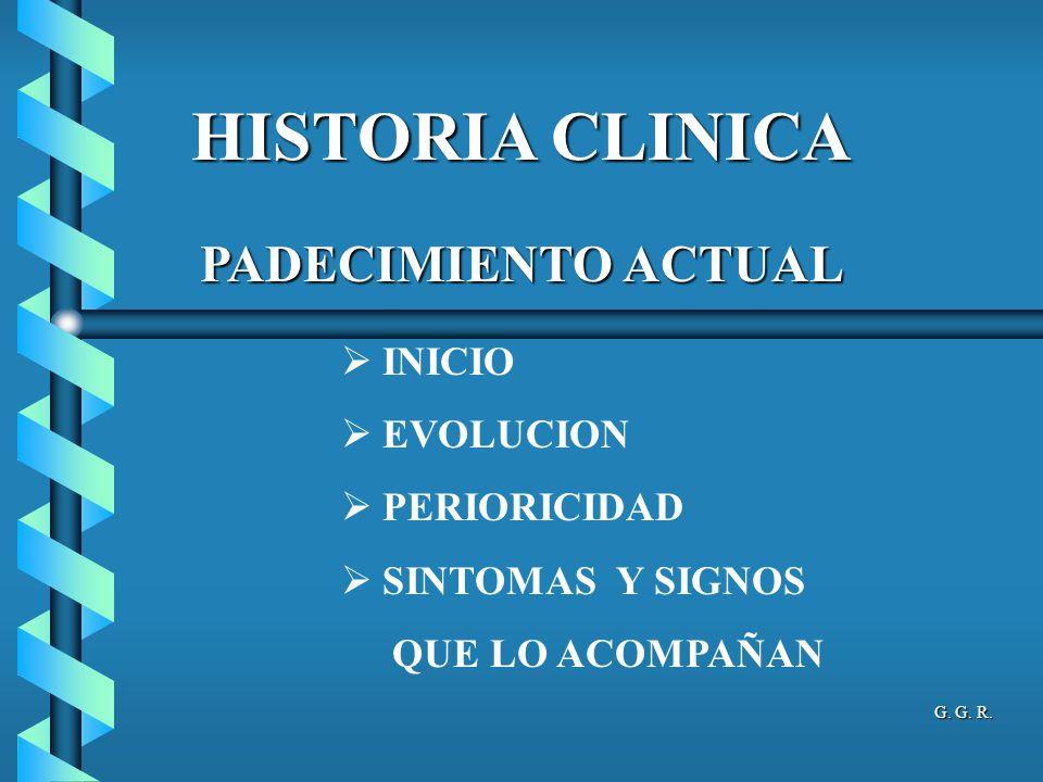 HISTORIA CLINICA PADECIMIENTO ACTUAL INICIO EVOLUCION PERIORICIDAD
