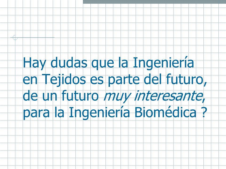 Hay dudas que la Ingeniería en Tejidos es parte del futuro, de un futuro muy interesante, para la Ingeniería Biomédica