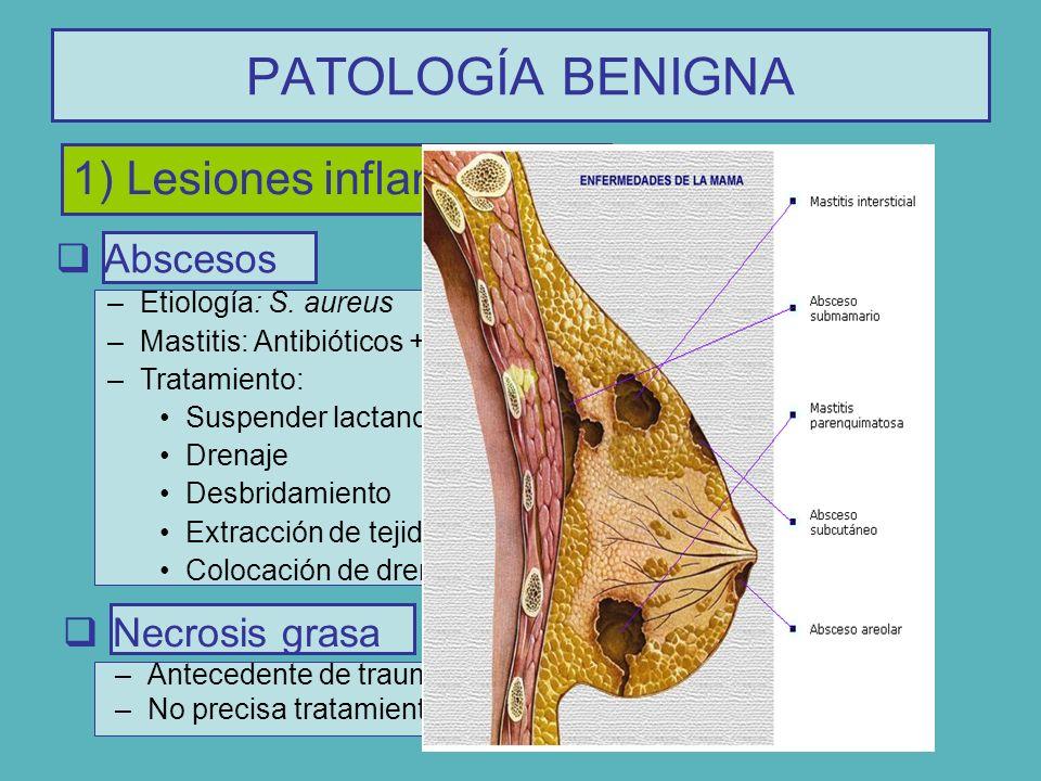PATOLOGÍA BENIGNA 1) Lesiones inflamatorias Abscesos Necrosis grasa