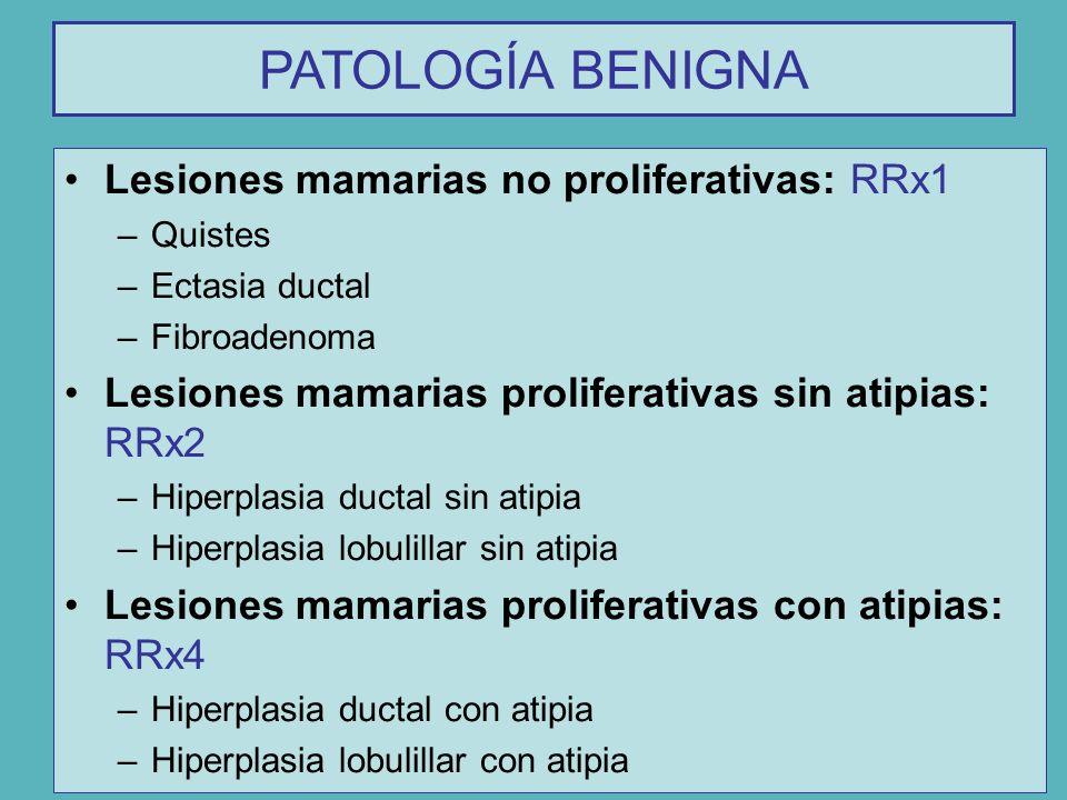 PATOLOGÍA BENIGNA Lesiones mamarias no proliferativas: RRx1