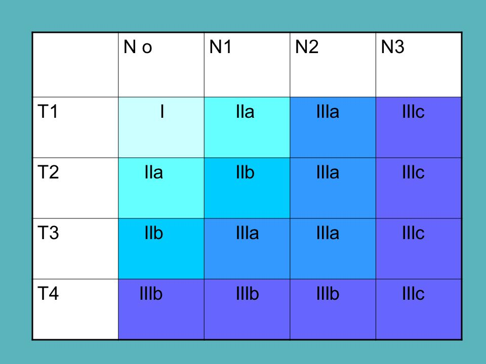 N o N1 N2 N3 T1 I IIa IIIa IIIc T2 IIb T3 T4 IIIb