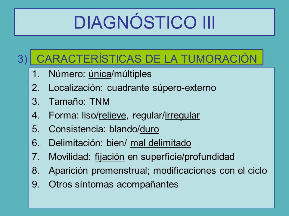DIAGNÓSTICO III CARACTERÍSTICAS DE LA TUMORACIÓN