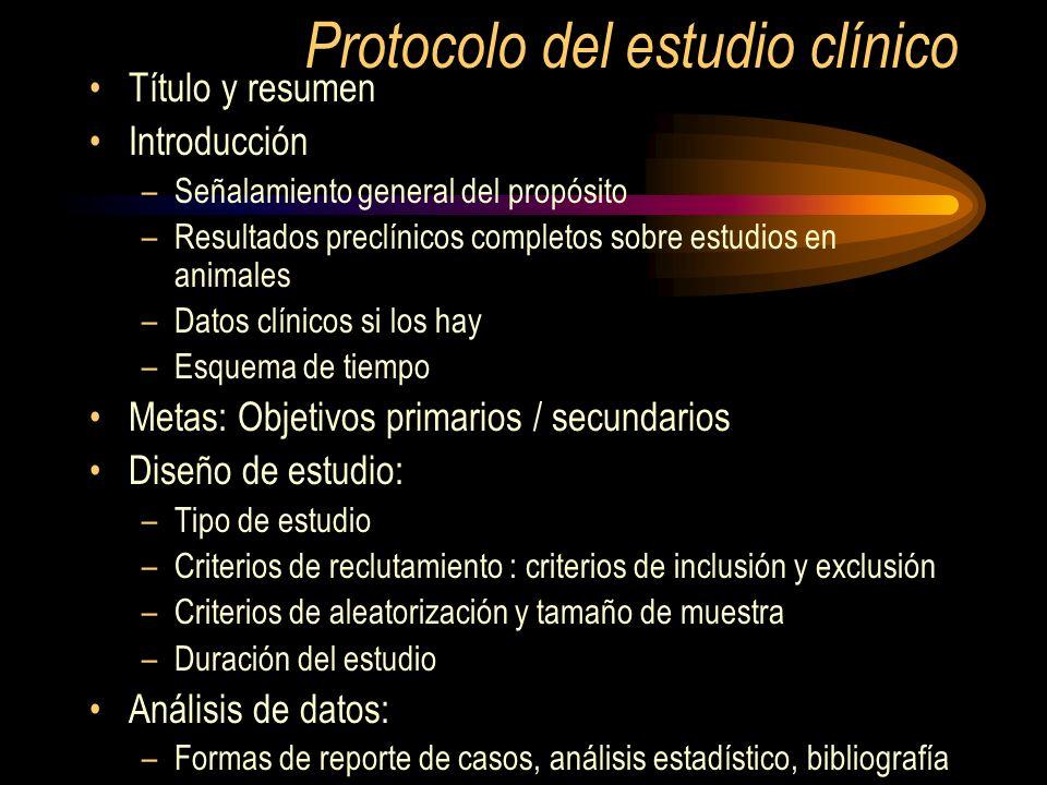 Protocolo del estudio clínico