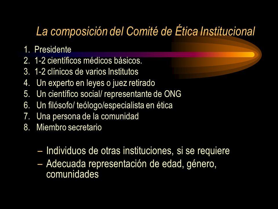 La composición del Comité de Ética Institucional
