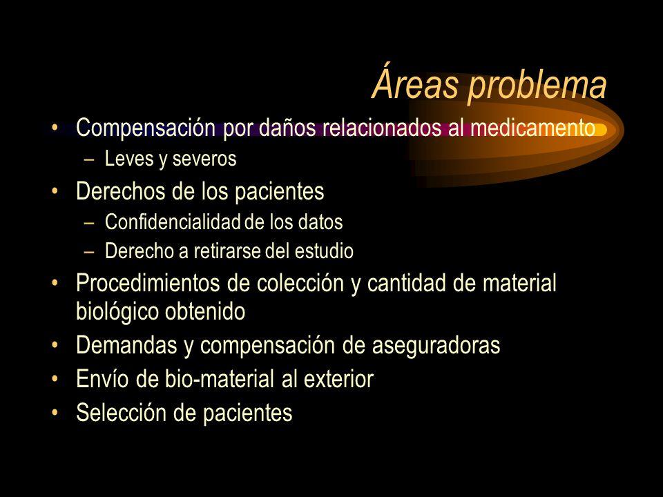 Áreas problema Compensación por daños relacionados al medicamento