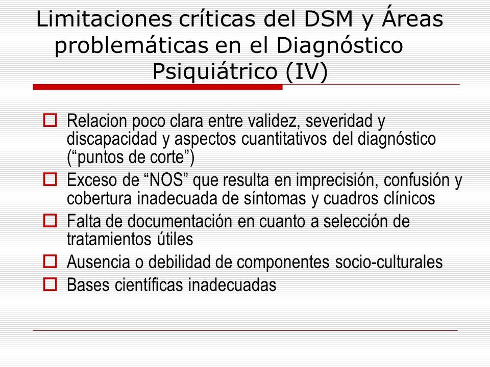 Limitaciones críticas del DSM y Áreas. problemáticas en el Diagnóstico
