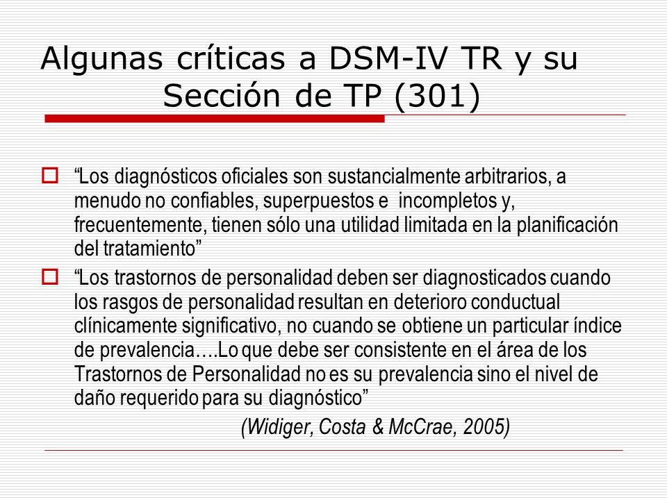 Algunas críticas a DSM-IV TR y su Sección de TP (301)