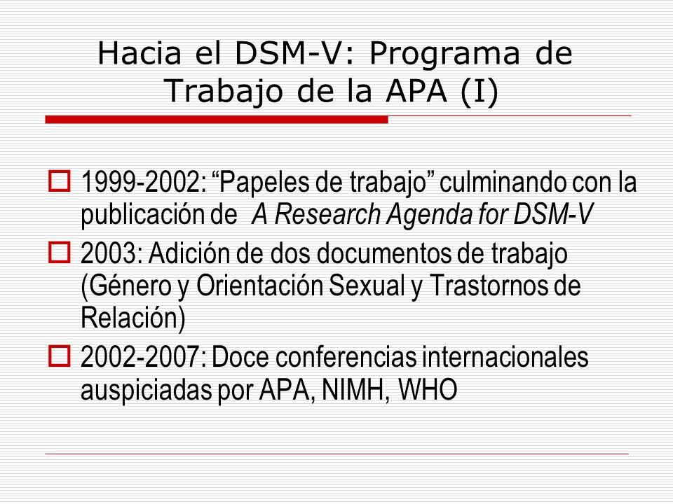 Hacia el DSM-V: Programa de Trabajo de la APA (I)