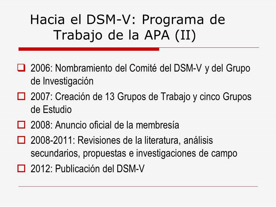 Hacia el DSM-V: Programa de Trabajo de la APA (II)