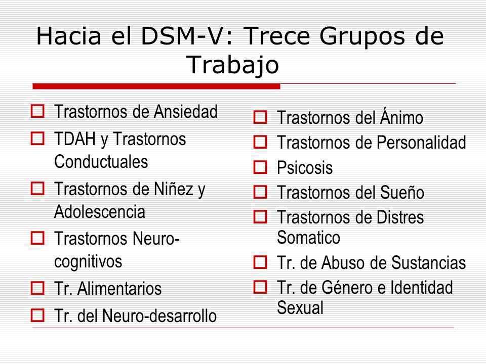 Hacia el DSM-V: Trece Grupos de Trabajo