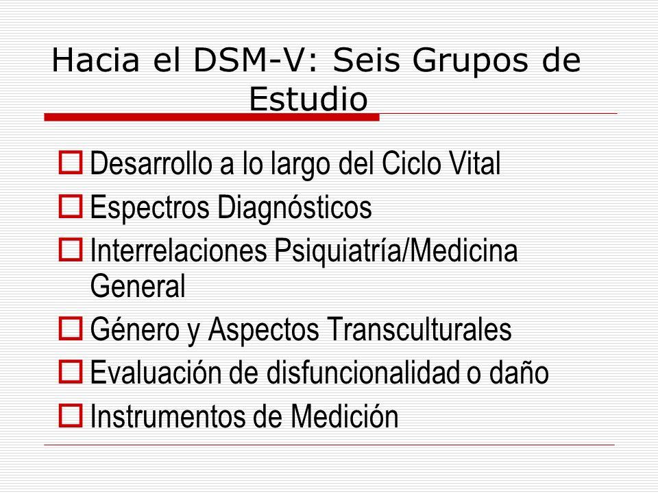 Hacia el DSM-V: Seis Grupos de Estudio