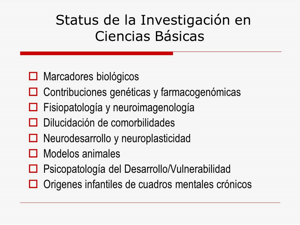 Status de la Investigación en Ciencias Básicas