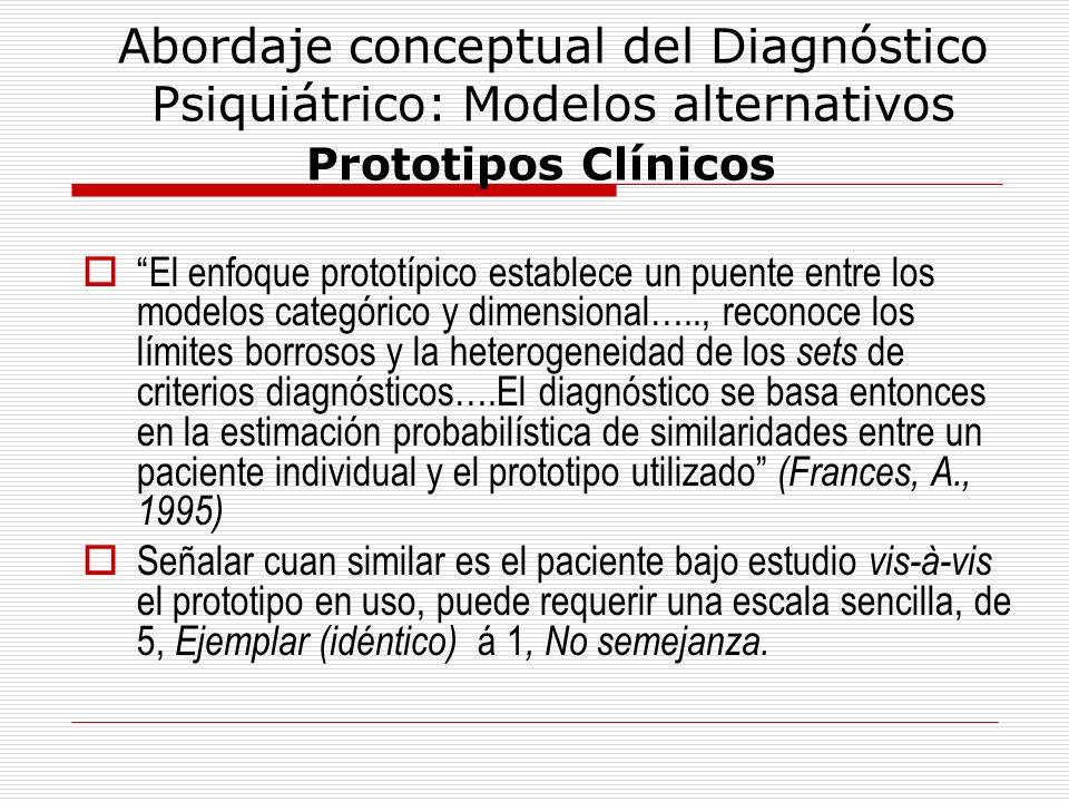 Abordaje conceptual del Diagnóstico Psiquiátrico: Modelos alternativos Prototipos Clínicos