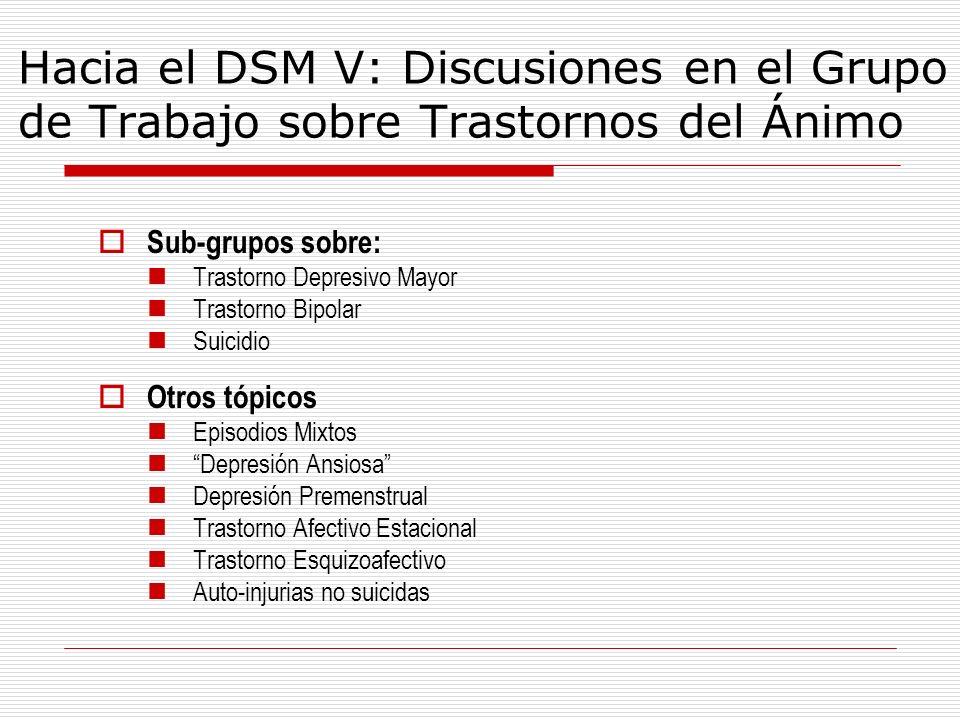 Hacia el DSM V: Discusiones en el Grupo de Trabajo sobre Trastornos del Ánimo