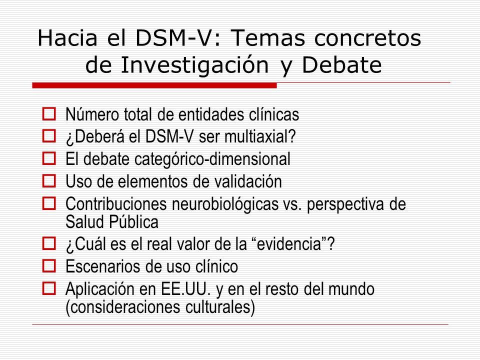 Hacia el DSM-V: Temas concretos de Investigación y Debate