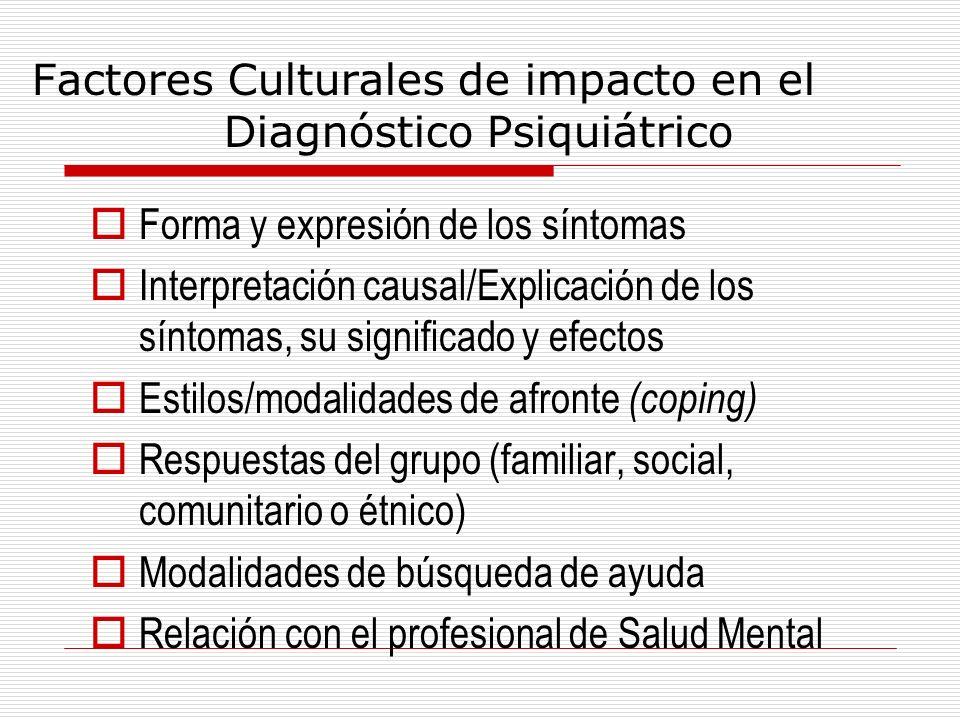 Factores Culturales de impacto en el Diagnóstico Psiquiátrico