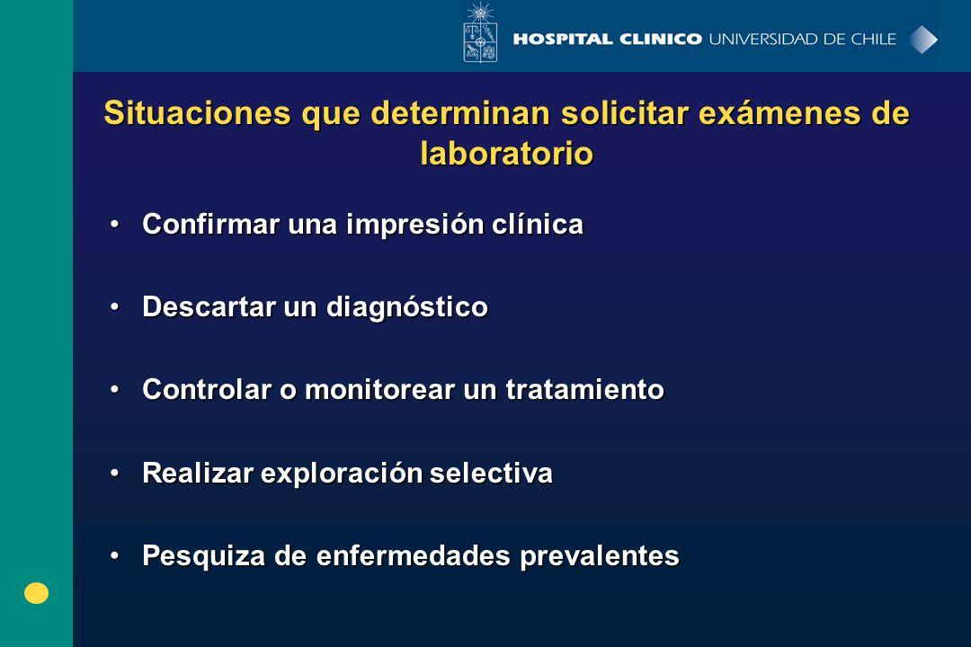 Situaciones que determinan solicitar exámenes de laboratorio