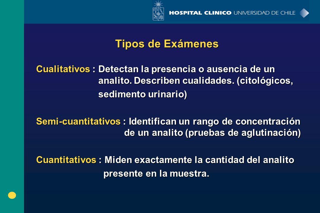 Tipos de Exámenes Cualitativos : Detectan la presencia o ausencia de un analito. Describen cualidades. (citológicos,